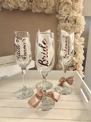 Personalised Wedding Vinyl Rose Gold Sticker Champagne Glass Bride Name Favour