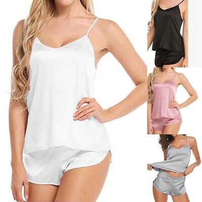 Sexy Cami Casual Satin Set Women Solid Lingerie Pajama Sleepwear Babydoll Shorts