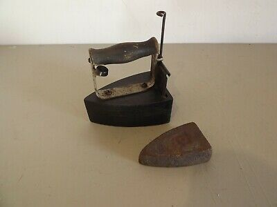 Antique Cast Sad Iron With Slug Collectable