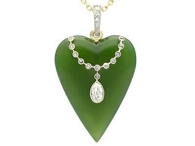 Antique Nephrite Jade and 0.54ct Diamond 15ct Yellow Gold Necklace by Tessiers