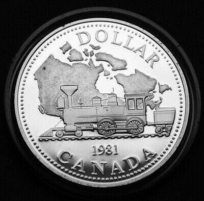Canada 1981 proof silver $1 coin celebrating the trans Canada railway