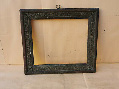 Old Antique Primitive Hand Carved Wooden Photo Frame Special Carved