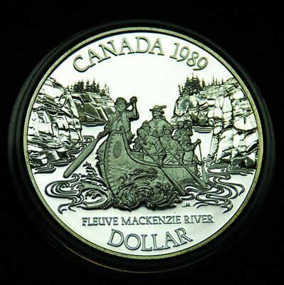 1989 proof silver $1 coin celebrating first complete trip up the Mackenzie River