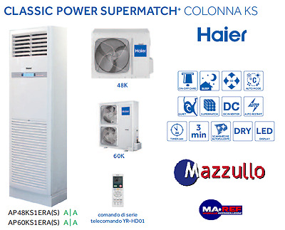 Conditionneur D'Air Haier Colonne Ks 48000 Btu Onduleur Triphasé Garantie Plus