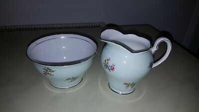 Vintage Salisbury China Sugar Bowl & Cream Jug  Set Pattern 2757 Green Floral