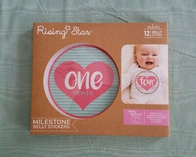 Rising Star Milestone Photo Prop Belly Stickers Gift Set Age 0-12M Baby Girls