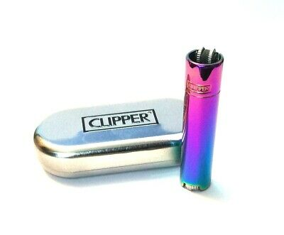 ICY SHINY RAINBOW GENUINE CLIPPER METAL CLASSIC REFILLABLE LIGHTER and Gift TIN