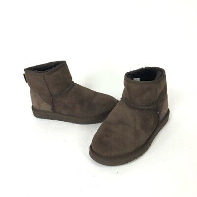 Ugg Womens Classic Mini Chocolate Brown Suede Shearling Ankle Boots 7 Style 5854