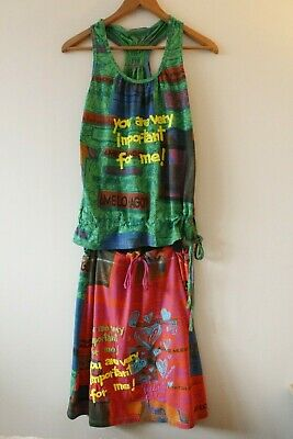 Womens Desigual Jersey Vest Top & Skirt Co ord Outfit Set | Size Medium