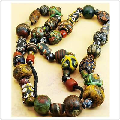 Authentic Ancient Roman Islamic Mixed Glass Beads Strand Necklace  46 Pcs Beads