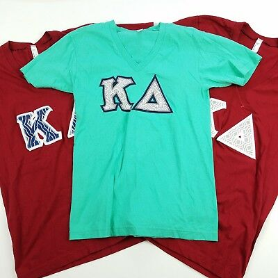Kapa Delta Sorority Fitted T-Shirt Small Lot of 3 Embroidered Applique Red Teal