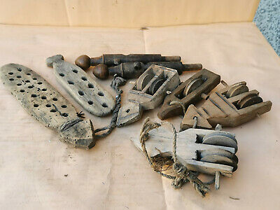 Old Antique Primitive Wooden Parts For Weaving Loom - Big Lot Of 8
