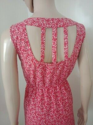 Ladies Dress Size 12 Jeans west Red White Gel Print Cut Out Back Detail Aline