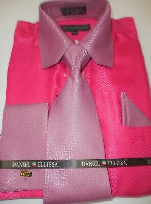 Mens Fuschia Pink Mauve Shiny Satin Dress Shirt + Tie Daniel Ellissa DS3075 S