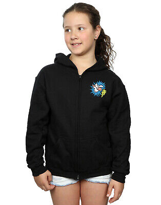 Looney Tunes Girls Bugs Bunny Carrot Breast Print Zip Up Hoodie