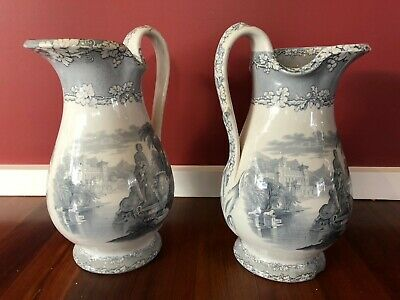 Decorative Brownfield and Sons Ceramic 19th Century Water Ewers