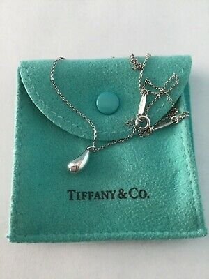 "Tiffany & Co. Elsa Peretti Teardrop Necklace 925 Silver 16"" EXCELLENT"