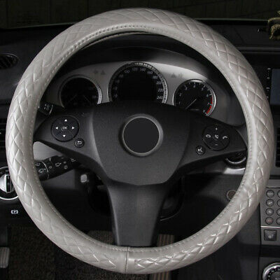 M 38cm Genuine Leather Car Steering Wheel Cover Diamond Breathable Non-Slip Grip