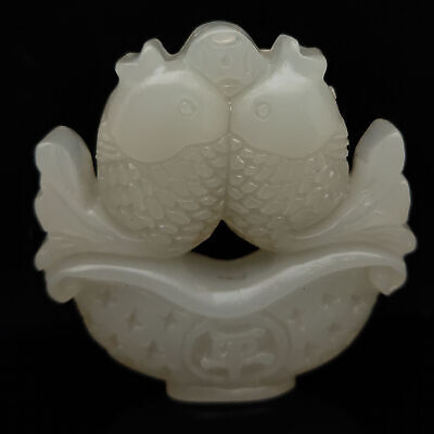 Antique Collection Natural White jade Hand-carved Two fish pattern Statue  S-746