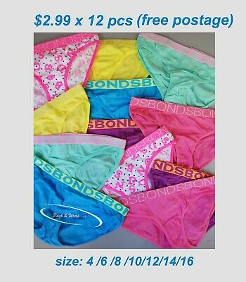12 x BONDS Girl's Bikini Briefs underwear undies brief bulk lot assorted colors