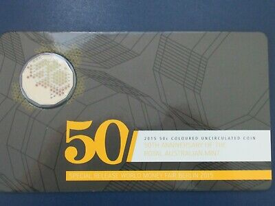 $0.50 unc coloured coin on card 2015, 50th Anniversary of the Royal Aust. Mint