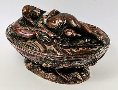 Victorian Moses In Basket Electrotype Box 19Th Century
