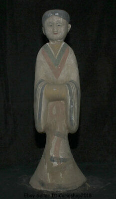 """18.4"""" Ancient Old Chinese Han Painting Pottery Dynasty Stand Woman Beauty Statue"""