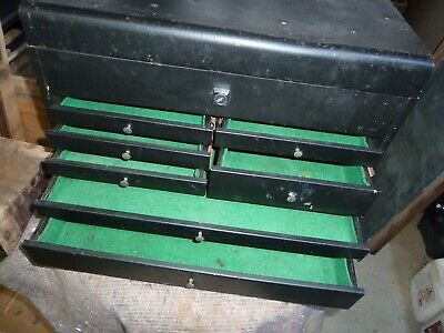 Vintage metal RS machinists 8 drawer tool chest cabinet.