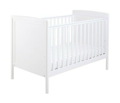 B GRADE WHITE BABYMORE EVA DROP SIDE COT BED WITH DRAWER