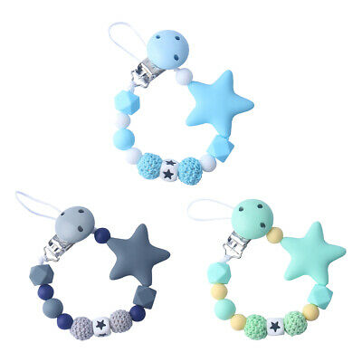 Baby Dummy Soother Clips Teether Teething Pacifier Strap Chain Boys Girls Mam U