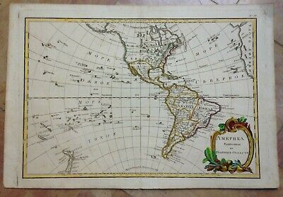 America New Zealand Bonne Lattre 1780 Rare Cyrillic Edition Large Antique Map
