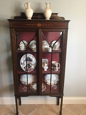 Original antique Edwardian (1900-1910) Inlaid mahogany glazed display cabinet