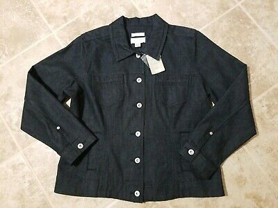 NWT Christopher & Banks Womens Size Petite Large Stretch Dark Denim Button Up