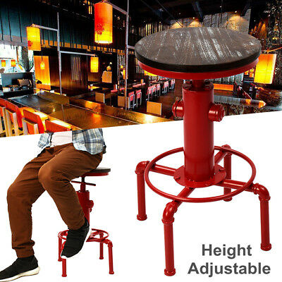 Retro Vintage Kitchen Pub Bar Cafe Railway Stool Industrial Adjustable Chair