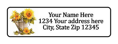 800 Sun Flower Can Personalized Return Address Labels. 1/2 inch by 1 3/4 inch