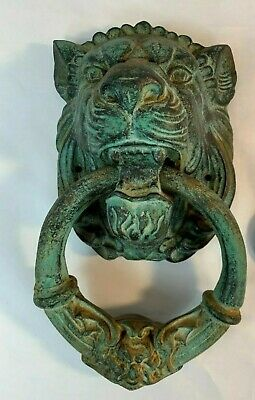 "Cast Iron Green-Hued Lion Head Heavy Vintage Door Knocker 11"" x 6"""