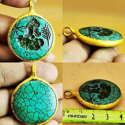 Gold plated pendant with old turquoise intaglio Stone # 102