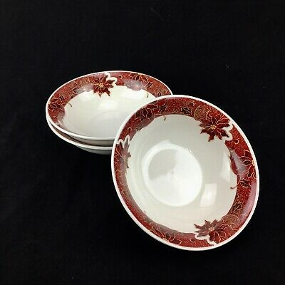 Gibson Red Floral Poinsettia Holiday Christmas Stoneware Soup Cereal Bowl Set 3
