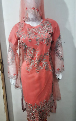 Embroidered net Chiffon Stitched Suit  Pakistani Indian ladies clearance sale