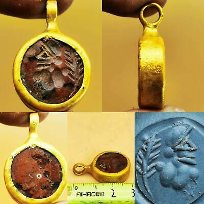 Old Agate stone intaglio king made into a pendant  # 103