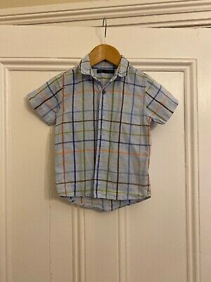 Boys Short Sleeved Pale Blue Linen Shirt From Next Age 2-3 Years Striped Checked