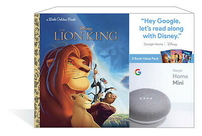 NEW Google Home Mini Smart Speaker Chalk + 3 Disney Little Golden Books Bundle