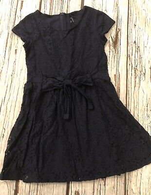 Age 9 Girls Navy Blue Lined Lace Dress Next Hardly Worn