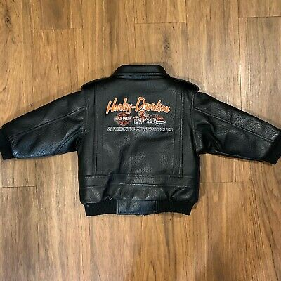 Harley Davidson Faux Leather Jacket Black Toddler Size 3T Embroidered Motorcycle