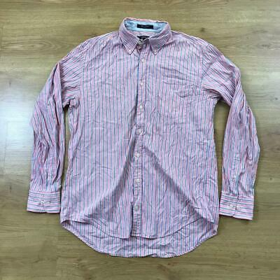 """Gant Pink Blue White Striped Long Sleeved Casual Oxford Shirt Large L 48"""" Chest"""