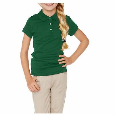 Cherokee Girls Uniform Short Sleeve Polo with Faux Twofer