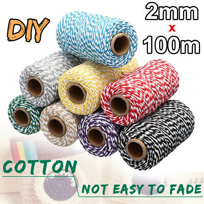 2mm 100M Twisted Pipping Cotton Cord String Rope Craft Sewing Macrame Home