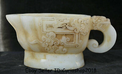 """9.6"""" Old Chinese Natural White Jade Carved Dynasty Beast Handle Wine Pot Flagon"""