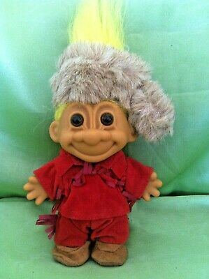 Russ Troll Doll Daniel Boone Frontiersman with Foot Sticker collectable 5 inch