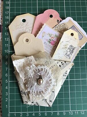 Hand made Vintage Music Paper Loaded Pocket Pouch For Junk Journal Tags Ephe
